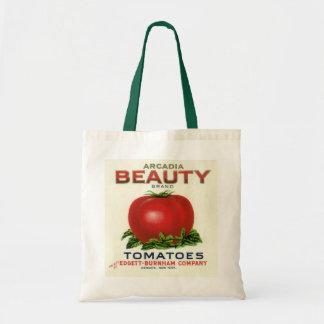 Etiqueta del cajón de la fruta del vintage, bolsa tela barata