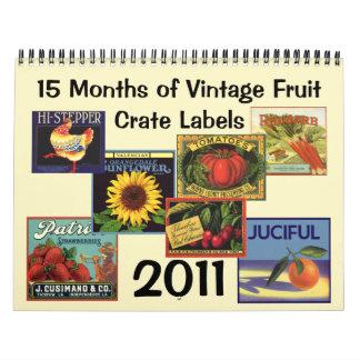 Etiqueta del cajón de la fruta del vintage calendario de pared