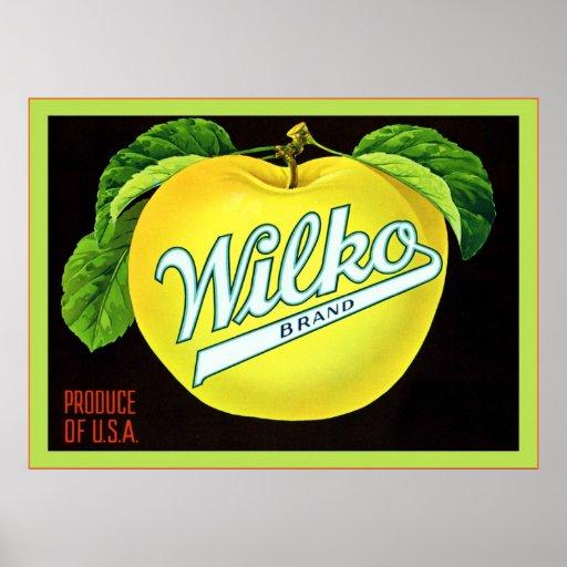 Etiqueta del cajón de la fruta del vintage póster