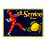 Etiqueta del cajón de la fruta del vintage postales