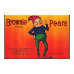 Etiqueta del cajón de la pera del brownie lona estirada galerías