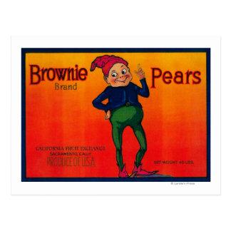 Etiqueta del cajón de la pera del brownie postal