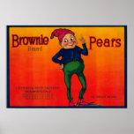 Etiqueta del cajón de la pera del brownie póster