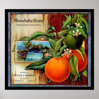 Etiqueta del cajón de la producción de los naranja póster