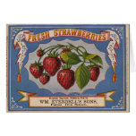 Etiqueta del cajón de las fresas del vintage del K Tarjeton