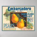 Etiqueta del cajón de las peras de Embarcadero Posters