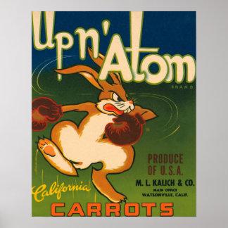 Etiqueta del cajón de las zanahorias de California Póster
