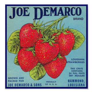 Etiqueta del cajón de Luisiana Stawberry - poster