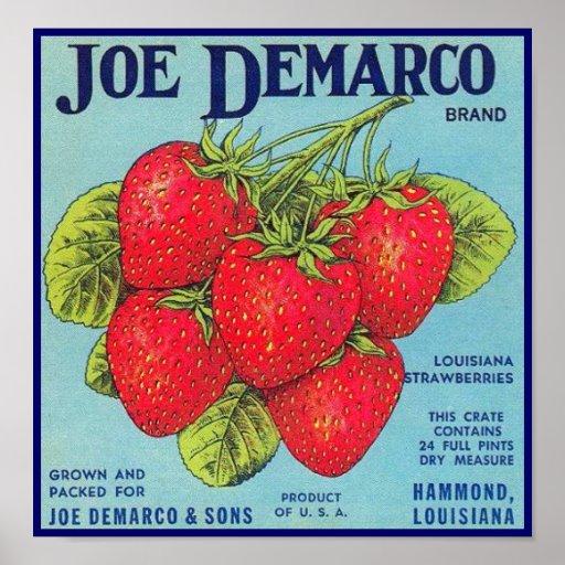 Etiqueta del cajón de Luisiana Stawberry - poster Póster