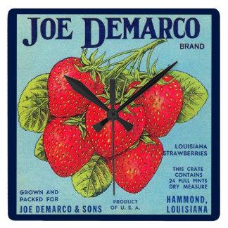 Etiqueta del cajón de Luisiana Stawberry Reloj Cuadrado
