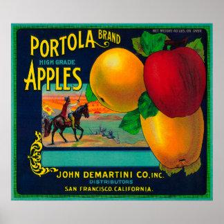 Etiqueta del cajón de Portola Apple Póster