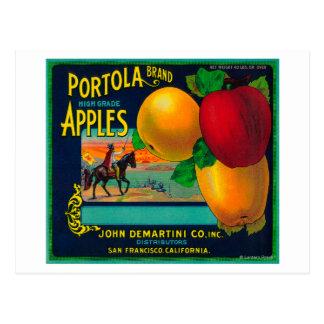 Etiqueta del cajón de Portola Apple Tarjetas Postales