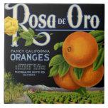 Etiqueta del cajón de Rosa de Oro Orange Azulejo Cuadrado Grande