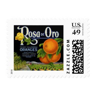 Etiqueta del cajón de Rosa de Oro Orange Sellos Postales
