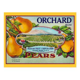 Etiqueta del cajón del vintage de la fruta de la tarjetas postales