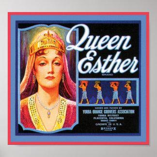 Etiqueta del cajón del vintage de la reina Esther Posters
