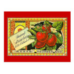 Etiqueta del cajón del vintage de las fresas de tarjetas postales