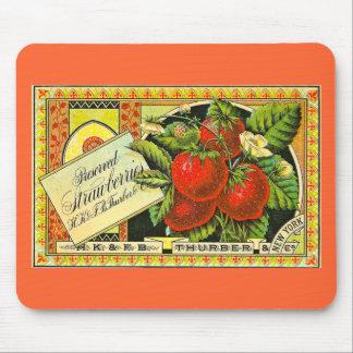 Etiqueta del cajón del vintage de las fresas de Th Alfombrilla De Raton