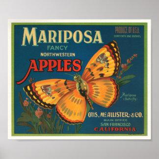 Etiqueta del cajón del vintage de las manzanas de  impresiones