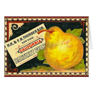 Etiqueta del cajón del vintage de las peras de tarjeta de felicitación