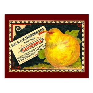 Etiqueta del cajón del vintage de las peras de tarjetas postales