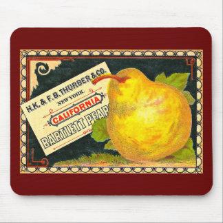 Etiqueta del cajón del vintage de las peras de Thu Tapetes De Raton