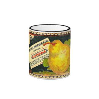 Etiqueta del cajón del vintage de las peras de Thu Taza A Dos Colores