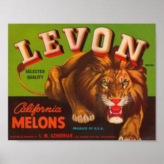 Etiqueta del cajón del vintage de los melones de L Poster