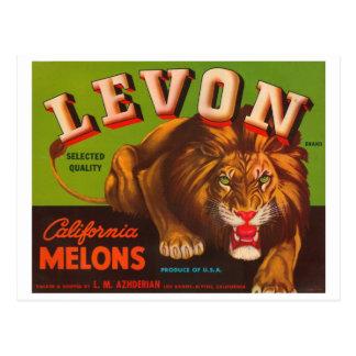 Etiqueta del cajón del vintage de los melones de L Postal