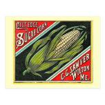 Etiqueta del cajón del vintage del maíz de azúcar  postales