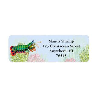 Etiqueta del camarón de predicador del pavo real etiqueta de remitente