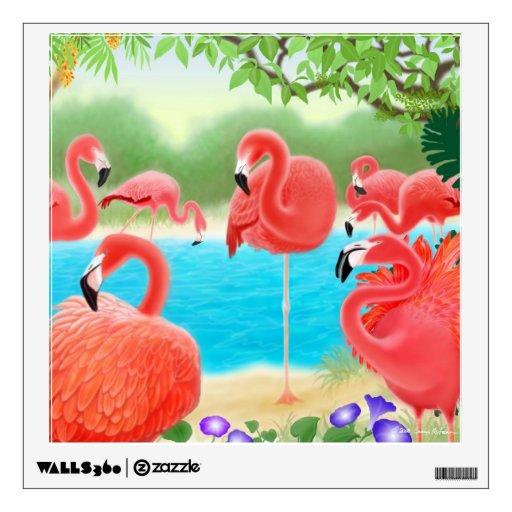 Etiqueta del Caribe rosada de la pared de los pája Vinilo