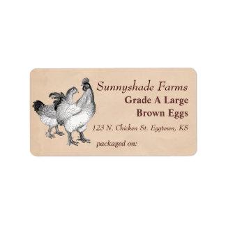 Etiqueta del cartón del huevo de los pollos de Coc Etiquetas De Dirección