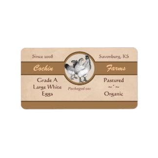 Etiqueta del cartón del huevo del estilo del vinta etiquetas de dirección