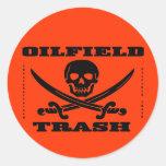 Etiqueta del casco de la basura del campo