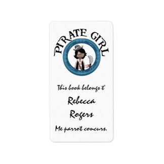 Etiqueta del chica del pirata etiquetas de dirección