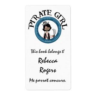 Etiqueta del chica del pirata etiquetas de envío