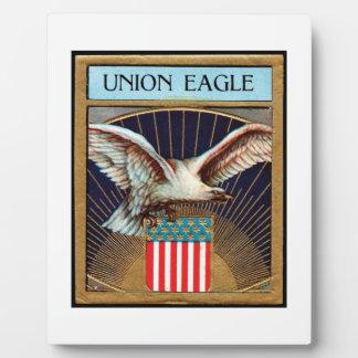 Etiqueta del cigarro de Eagle de la unión - patrió Placa