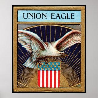 Etiqueta del cigarro de Eagle de la unión - patrió Póster