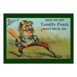 Etiqueta del cigarro del béisbol del vintage, el s anuncio personalizado