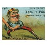 Etiqueta del cigarro del béisbol del vintage, el s anuncios
