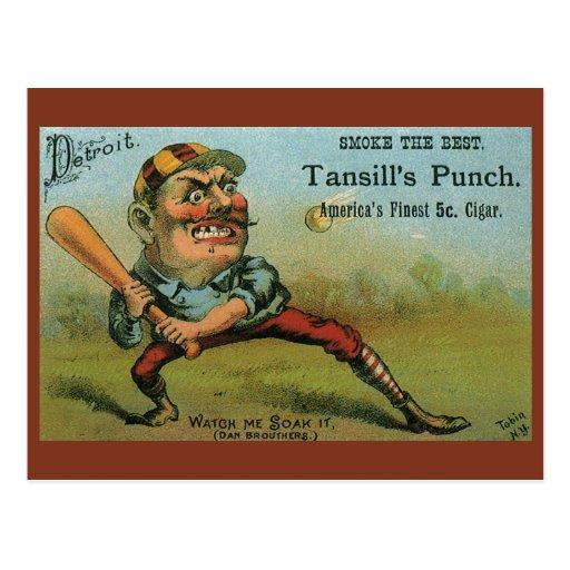Etiqueta del cigarro del béisbol del vintage, el s postales