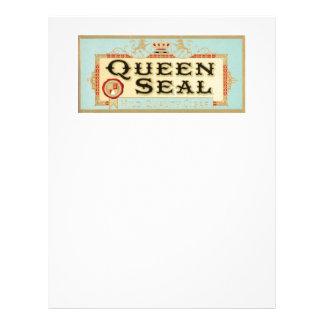 Etiqueta del cigarro del sello de la reina del vin membrete personalizado