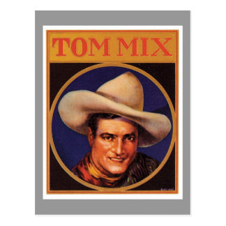 Etiqueta del cigarro del vaquero de Tom Mix del vi Postal