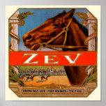 Etiqueta del cigarro del vintage con los caballos  posters