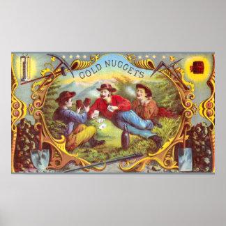 Etiqueta del cigarro del vintage de las pepitas de póster