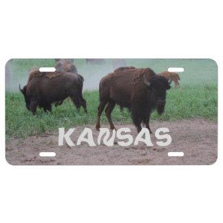 Etiqueta del coche de Bull del búfalo de Kansas Placa De Matrícula