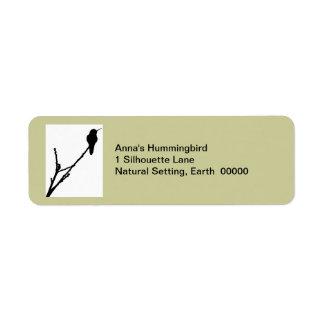 Etiqueta del colibrí de Ana Etiqueta De Remite