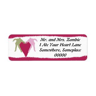 Etiqueta del corazón del amor del zombi etiquetas de remite