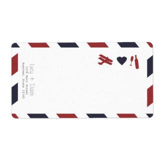 Etiqueta del correo aéreo con el remite etiqueta de envío